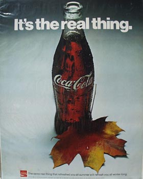 Coca-Cola Bottle and Leaf Ad 1971