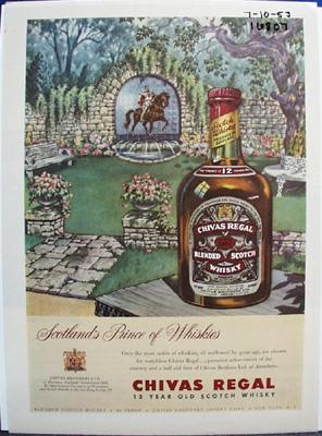 Chivas Regal Whiskey & Flower Garden Ad 1953