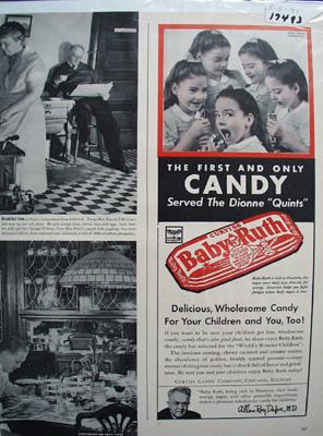 Baby Ruth & Dionnne Quintriplets Ad 1941