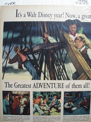 Disney Greatest Adventure Treasure Island Ad 1950