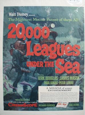 Disney 20,000 Leagues Under The Sea Ad 1954