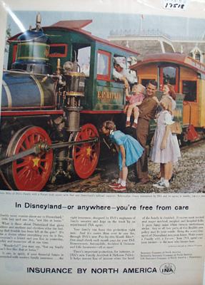 Insurance by N. America & Disneyland Ad 1958