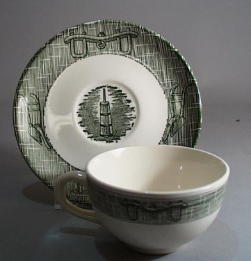 Scio Currier and Ives in green Cup and Saucer