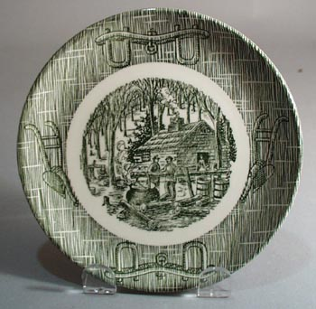Scio Currier and Ives in green Bread and Butter Plate