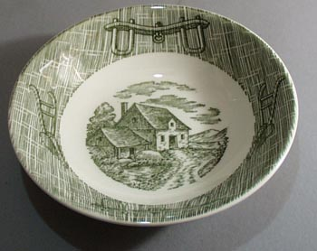 Scio Currier and Ives in green Fruit Bowl