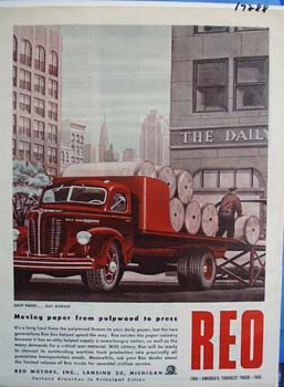 Reo moving paper from pulpwood to press. Ad