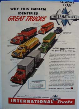 International emblem identifies great trucks. Ad