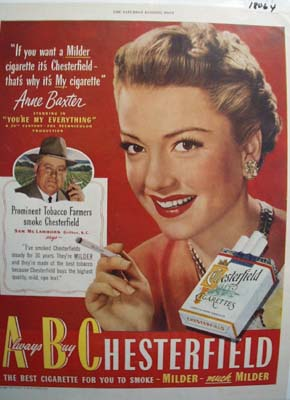 Anne Baxter & Chesterfield Ad 1949