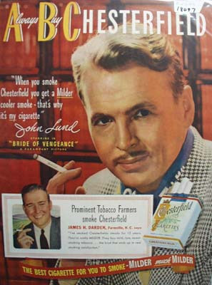 John Lund & Chesterfield Ad 1949