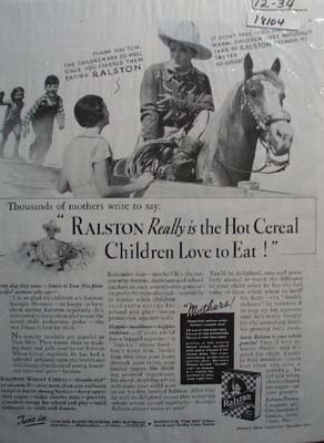 Tom Mix & Ralston Cereal Ad 1934
