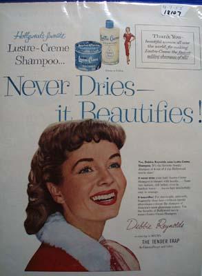 Debbie Reynolds & Lustre Crme Ad 1955