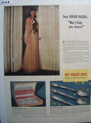 Ginger Rogers & 1847 Rogers Bros Ad 1940