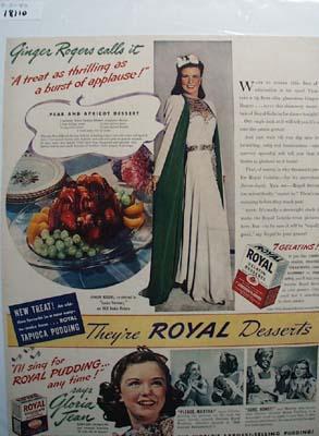 Ginger Rogers & Royal Gelatin Ad 1940