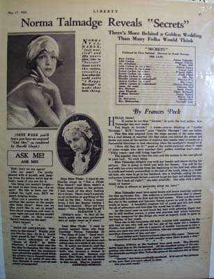 """Black and white 1924 ad for the movie """"Secrets"""""""