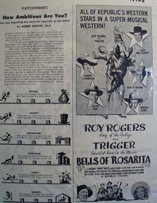 Black and white 1945 ad of Bells of Rosarita