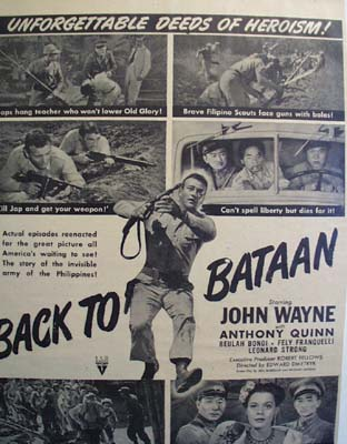 Black and white 1945 ad of Back to Bataan