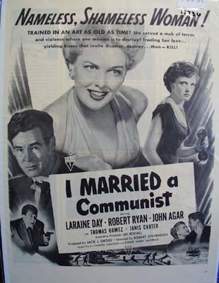 Black and white 1949 ad of I Married a Communist