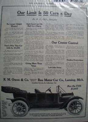 Reo Motor Car 50 a Day Ad 1912