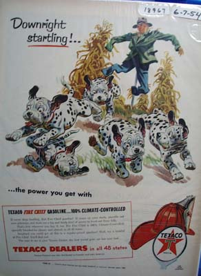 Texaco Fire-Chief gasoline is downright startling Ad 1955.