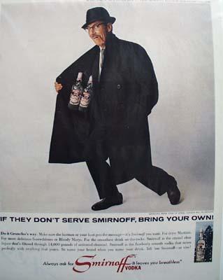Smirnoff vodka never settle for less Ad 1965.