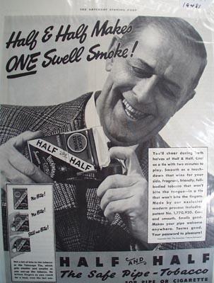 Half and Half tobacco for pipe or cigarette Ad 1937