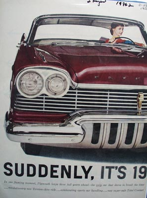 Plymouth Suddenly It's 1960 ad 1956