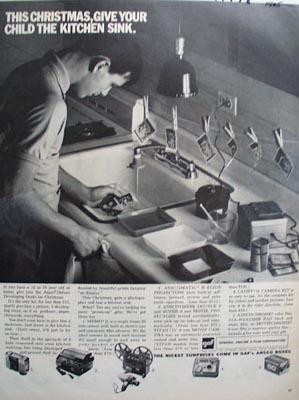 GAF Camera & Film Kitchen Sink Ad 1965