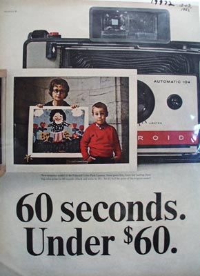 Polaroid 60 Seconds Under 60.00 Ad 1965