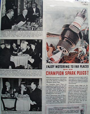 Champion Enjoy Motoring To Far Places ad 1940