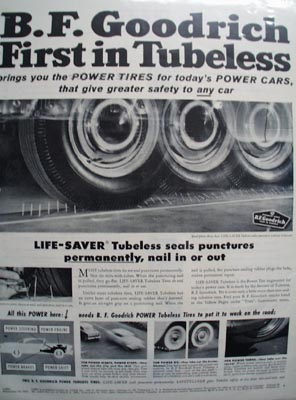 B F. Goodrich First in Tubeless Ad 1955