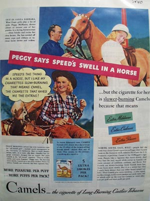 Camels & Peggy McManus With Horse Ad 1940