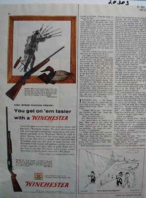 Winchester Shotgun Get On Them Faster Ad 1955