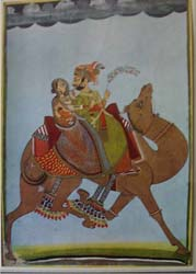 1981 print of Dhola and Marvani riding their camel,
