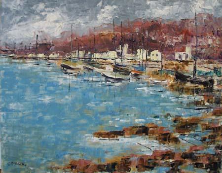 Modernistic pier scene painting.