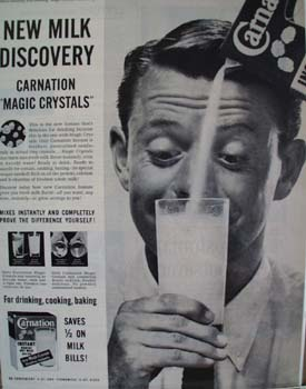 Carnation New Mild Discovery Ad 1956.