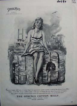Springmaid Lady Sitting on Cotton Bale Ad 1943
