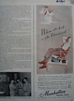 Manhattan Shirts Vericool Ad 1943