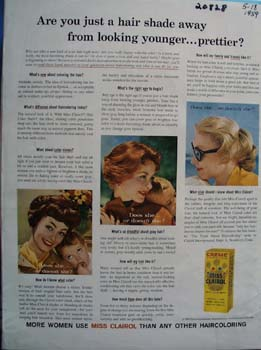 Miss Clairol Just A Shade Away Ad 1959