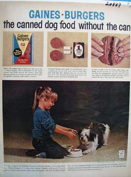 Gaines Burgers Dog Food Without Can Ad 1965