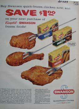 Swanson Frozen Chicken Save  1.00 Ad 1958