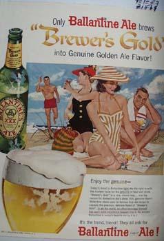 Ballantine Ale Two Couples At Beach Ad 1957