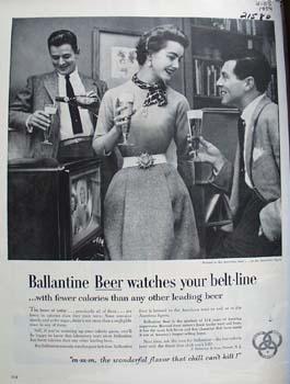 Ballantine Beer Watches Your Beltline Ad 1954
