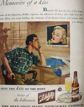 Schlitz Beer Memories of A Kiss Ad 1944
