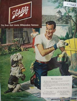 Schlitz Beer Man Painting Fence And Dog Ad 1951
