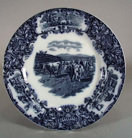 Flow Blue Plate featuring Cows, wedgwood