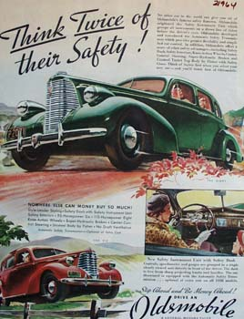 Oldsmobile Think Twice Of Their Safety Ad 1938