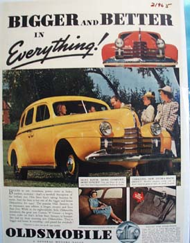 Oldsmobile Bigger And Better Ad 1939