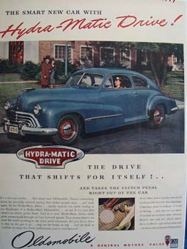 Oldsmobile Drive Shifts For Itself Ad 1946