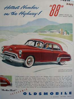 Oldsmobile Hottest Number On Highway Ad 1949