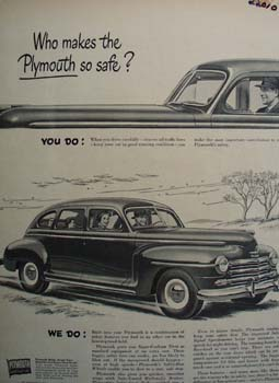 Plymouth Who Makes It Safe Ad 1948